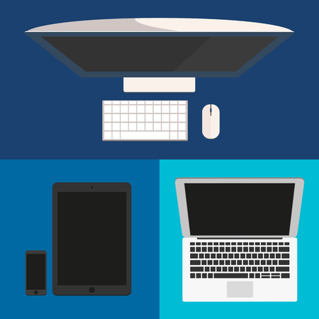 pc monitor: Flat design. Computer monitor, smartphone, laptop and tablet pc.