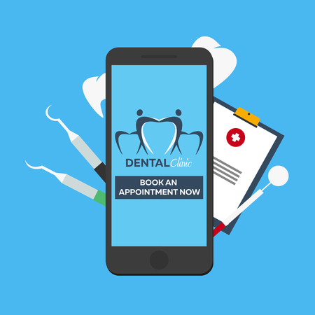 appointment book: Dental clinic. Book an appointment. Online entry. Illustration
