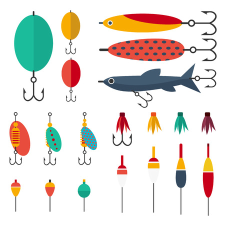 Fishing set of accessories for spinning fishing with crankbait lures and twisters and soft plastic bait fishing float Illustration