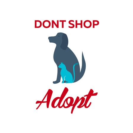 don't care: Adopt . Dont shop, adopt. Adoption concept. Vector illustration