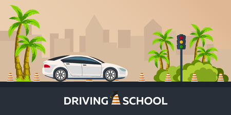 driving school: Driving school illustration. Auto. Auto Education. The rules of the road. Practice