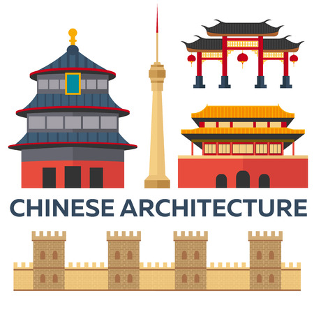 Trip to China. Chinese architecture. Vacation. Road trip. Tourism. Journey. Travelling illustration Beijing city. Modern flat design. China. Beijing skyline