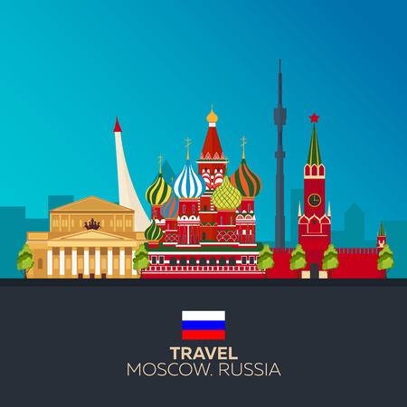 Moscow. Tourism. Travelling illustration Moscow city. Modern flat design. Moscow skyline. Russia Illustration