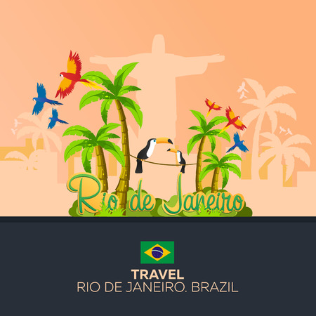 redeemer: Rio 2016 games. Travel in Brasil. South America. Statue of Christ the Redeemer Illustration