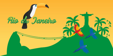 redeemer: Rio de Jeaneiro Poster. Travel in Brasil. South America. Statue of Christ the Redeemer. Toucan. Three parrots
