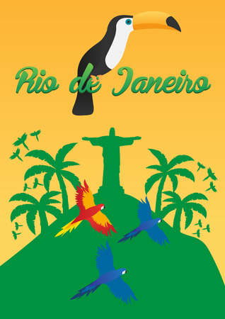 Rio de Jeaneiro Poster. Travel in Brasil. South America. Statue of Christ the Redeemer. Toucan. Three parrots