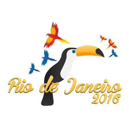 Rio de Jeaneiro logo. Travel in Brasil. South America. Toucan. Three parrots