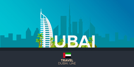 Dubai. Tourism. Travelling illustration Dubai city. Modern flat design. Dubai skyline. UAE. United Arab Emirates