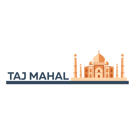 agra: Taj Mahal. Agra. Indian architecture. Modern flat design. Vector illustration