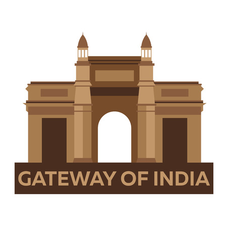 gateway: Gateway of India. Indian architecture. Mumbai. Modern flat design. Vector illustration