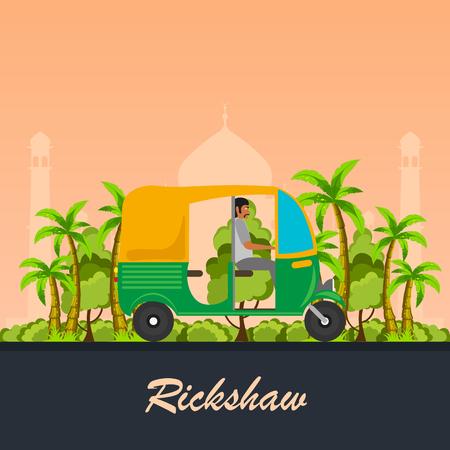 rikscha: Indian Motorrikscha Auto. Indian Tuk Tuk. Vektor-Illustration Illustration
