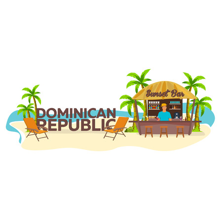 bar lounge: Beach Bar. Dominican republic. Travel. Palm, drink, summer, lounge chair, tropical. Illustration