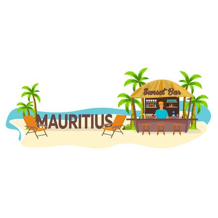 bar lounge: Beach Bar. Mauritius. Travel. Palm, drink, summer, lounge chair, tropical. Illustration