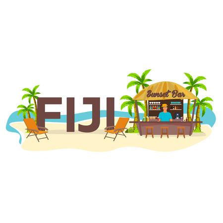bar lounge: Beach Bar. Fiji. Travel. Palm, drink, summer, lounge chair, tropical.
