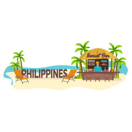 lounge chair: Beach Bar. Philippines. Travel. Palm, drink, summer, lounge chair, tropical. Illustration