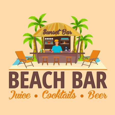 bar lounge: Summer. Beach Bar. Travel. Juice, cocktails, beer. Lounge chair. Vector Illustration.