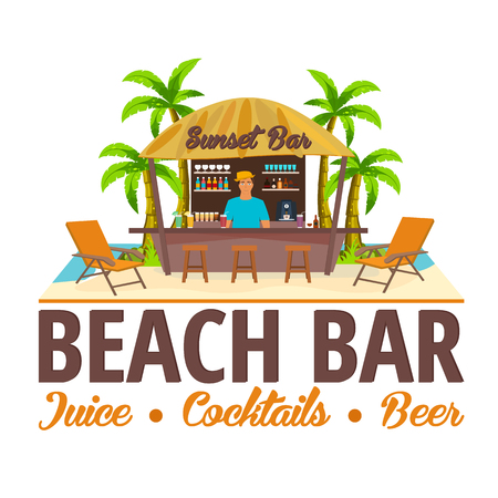 lounge chair: Summer. Beach Bar. Travel. Juice, cocktails, beer. Lounge chair. Vector Illustration.