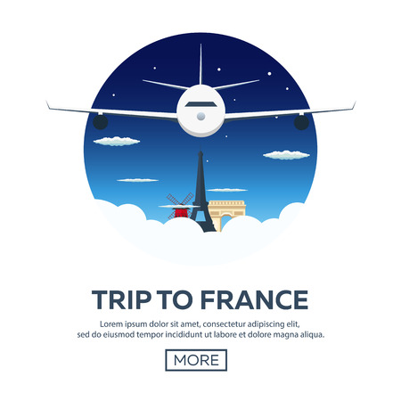 french culture: Trip to France. Travelling illustration. Modern flat design. Travel by airplane, vacation, adventure, trip. Time to travel Illustration