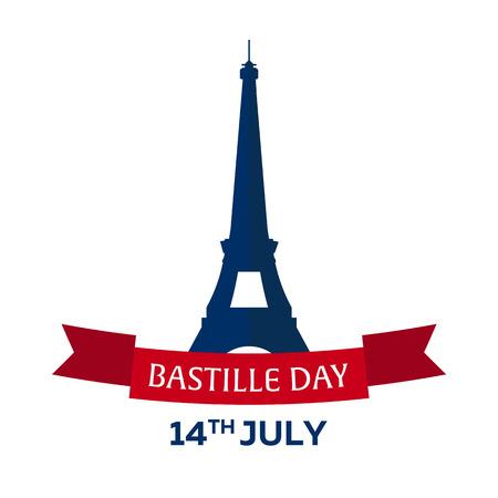 the bastille: Bastille day. 14 July. Paris. Tourism. Eiffel Tower. France. Modern flat design.