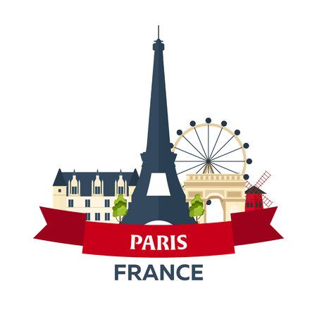 bastille: Bastille day. 14 July. Paris. Tourism. Eiffel Tower. France. Modern flat design.