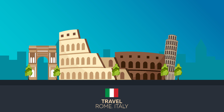 colosseum: Rome. Tourism. Travelling illustration Rome city. Modern flat design. Italy travel. Colosseum