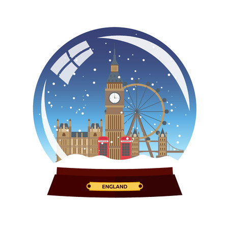 city of london: Snow globe city. London in Snow Globe. Winter travel vector illustration Illustration