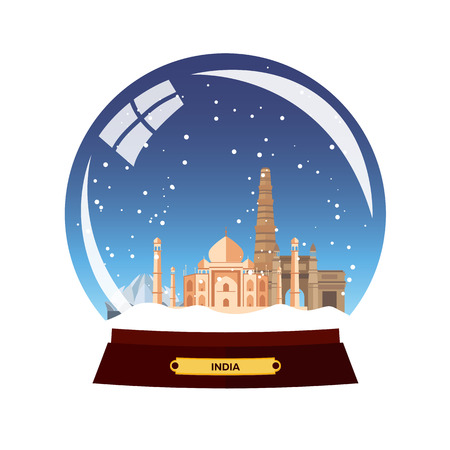agra: Snow globe city. India in Snow Globe. Winter travel vector illustration