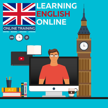 foreign language: Learning English Online. Online training. Distance education. Online education. Language courses, foreign language, language tutorial Illustration