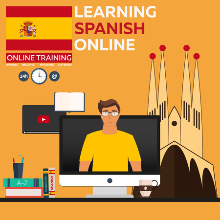 foreign language: Learning Spanish Online. Online training. Distance education. Online education. Language courses, foreign language, language tutorial