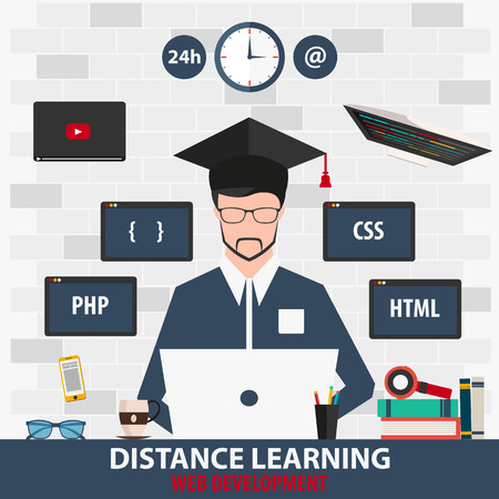 distance learning: Distance learning. Online education web development. Vector illustration
