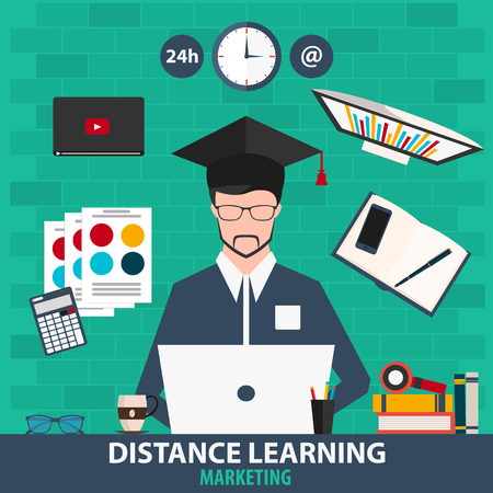 distance learning: Distance learning. Online education marketing. Vector illustration