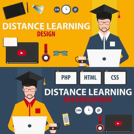 online education: Distance learning. Set online education. Design, web development Illustration
