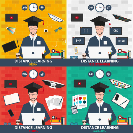 distance learning: Distance learning. Set online education. Design, web development, writing, marketing. Illustration