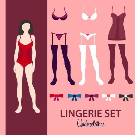 knickers: Paper doll. Lingerie set. Underclothes. Vector illustration