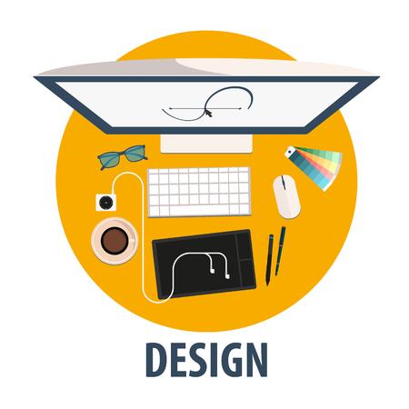 freelance: Design flat icon. Illustration design. Freelance profession