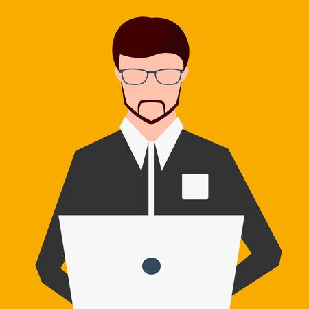 working on computer: Freelancer working on computer. Vector Flat illustration