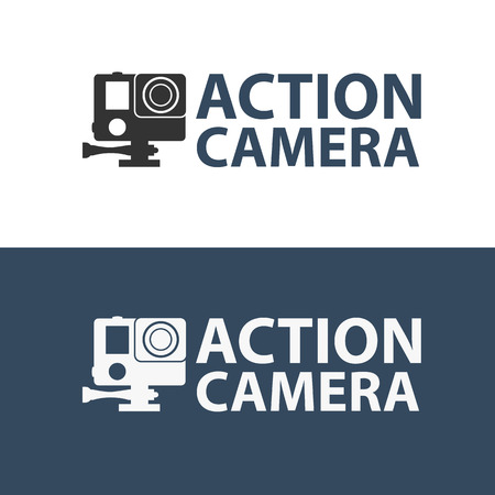 hd: Action camera logo. Camera for active sports. Ultra HD.