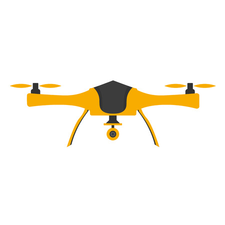 アクション カメラと無人偵察機。フラットなデザイン。ドローン quadrocopter