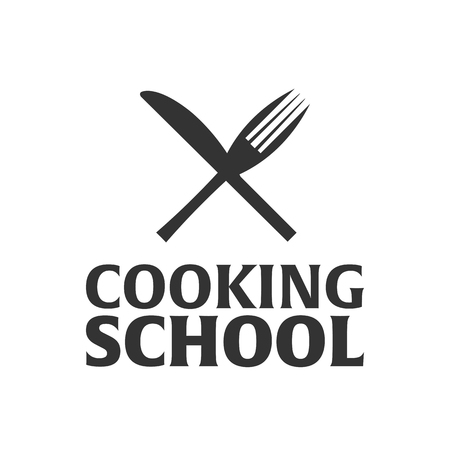 academy: Cooking school logo. Cooking Academy. Vector illustration