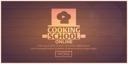 site preparation: Cooking school, courses online. Culinary class vector illustration