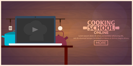 school class: Cooking school, courses online. Culinary class vector illustration