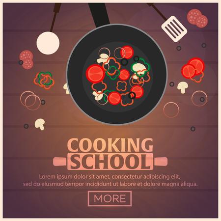 kulinarne: Gotowanie szkoły, kursy. ilustracji wektorowych Klasa Kulinarne