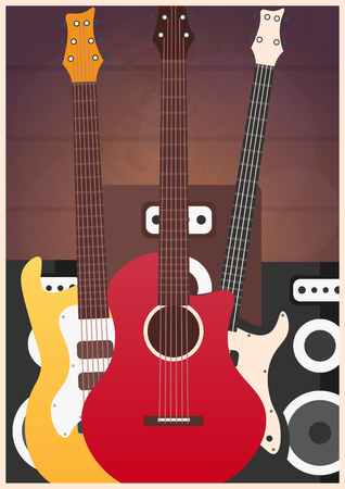 Poster with musical instruments. Music studio. Guitar. Flat design Illustration