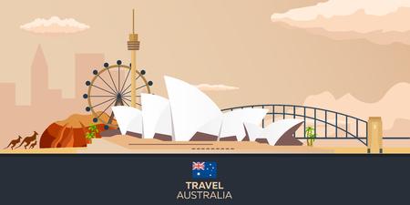 オーストラリア。観光。旅行のイラスト。モダンなフラット デザイン。シドニー旅行