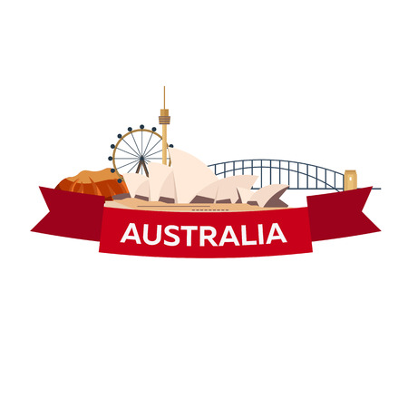 sydney skyline: Australia. Tourism. Travelling illustration. Modern flat design Sydney travel Illustration