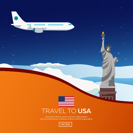 new york skyline: Travel to USA, New York Poster skyline. Statue of Liberty. Vector illustration