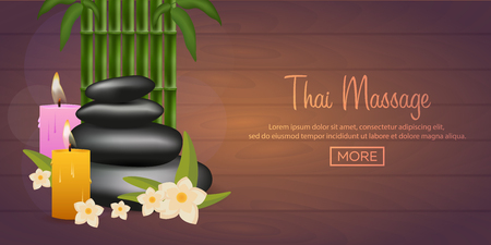 spa salon: Spa salon banner with stones. Thai Massage. Wood texture