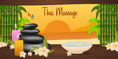 Spa salon banner with stones. Thai Massage. Wood texture
