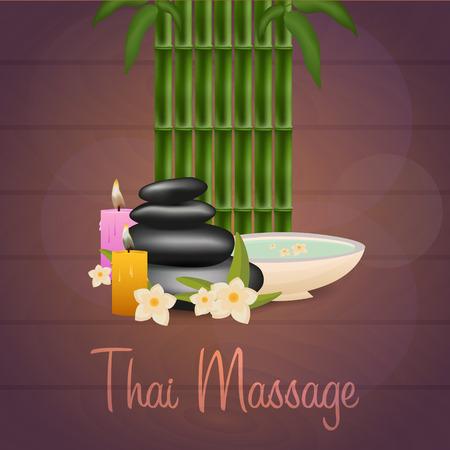 Spa banner salone con pietre. Massaggio tailandese. struttura di legno