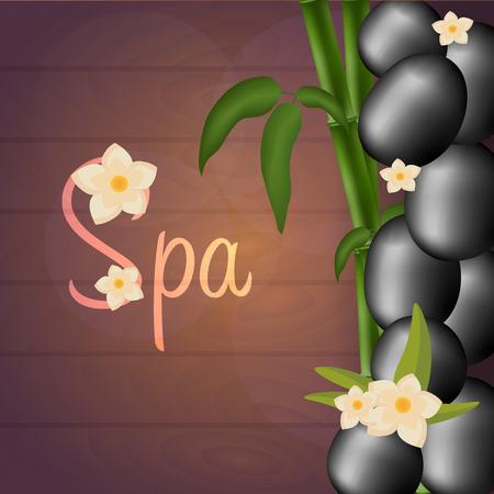 massage stones: Spa salon banner with stones. Thai Massage. Wood texture